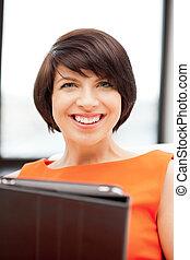 pc, kvinna, dator, kompress, lycklig