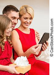 pc, lächeln, familie, tablette