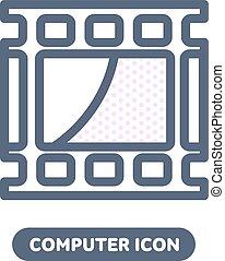 pc, linestyle, vetorial, vídeo, ícone