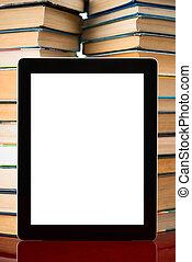 pc, livros, tabuleta