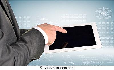 pc, mains, deux, tablette, utilisation