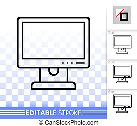 Pc Monitor simple black line vector icon