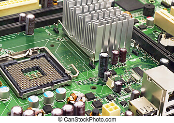 PC motherboard closeup - image of the motherboard without a ...