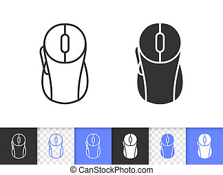 PC Mouse simple black line vector icon
