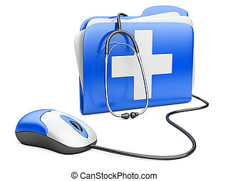 PC mouse with blue folder and white cross