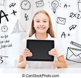 pc, muchacha de la escuela, tableta