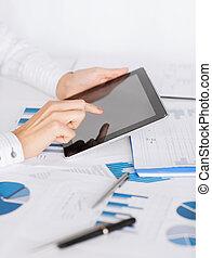 pc, mujer, gráfico, tableta, papeles