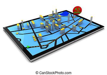 pc, navigation, tablette, gps