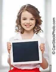 PC, niña, tableta