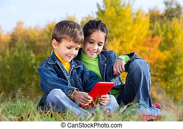 pc, niños, dos, tableta