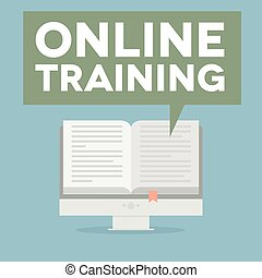 PC Online Training - minimalistic illustration of a monitor...