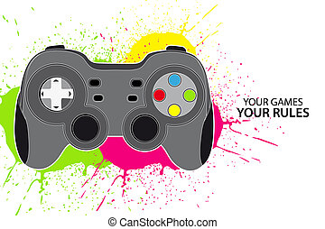 Vector console or PC joystick on white background