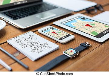 pc, ordinateur portable, tablette, haut, smartphone, fin