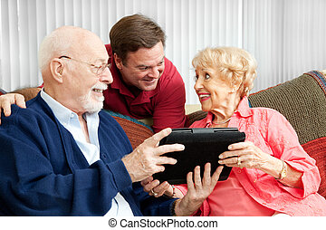 pc, ouders, tablet, cadeau
