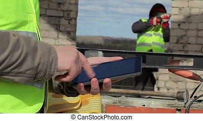 pc, ouvriers, construction, tablette