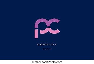 pc p c  pink blue alphabet letter logo icon