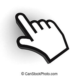 pc pointer hand black and white cursor on white background....