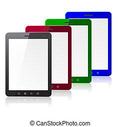 pc, quatre, informatique, écran blanc, couleur, tablette