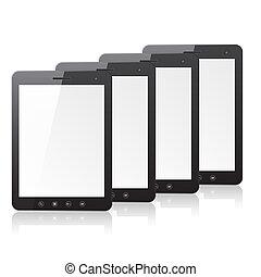 pc, quatre, informatique, écran blanc, tablette