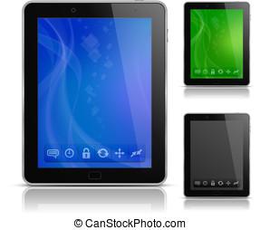pc, résumé, fond, tablette, icônes