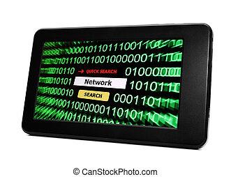 pc, recherche, réseau, tablette