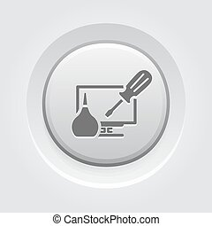 PC Repair Icon Concept. Grey Button Design