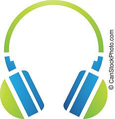 pc, słuchawki, przybory, ikona