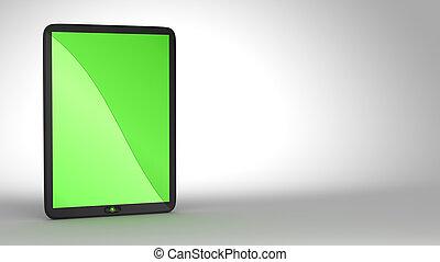 pc, scherm, groene, gekleurde, tablet