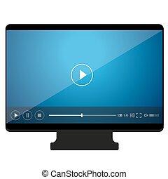 pc, scherm, vector, pictogram, speler