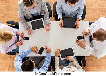 pc, smartphones, tavoletta, squadra affari