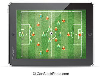 pc, spiel, fußball, tablette