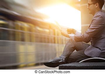 pc, station., train, tablette, utilisation