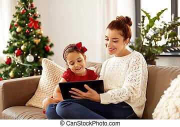 pc, töchterchen, weihnachten, tablette, mutter