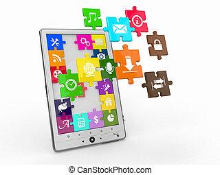 pc tabela, software., tela, de, quebra-cabeça, com, icons.