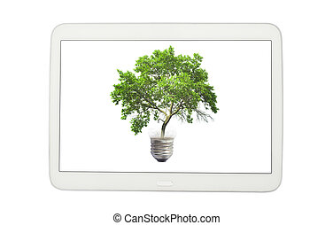 pc tablet and green tree in bulb isolated on white.