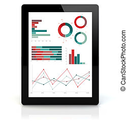 pc. tablet, finansielle, graferne
