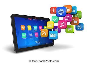 pc. tablet, hos, sky, i, ansøgning, iconerne