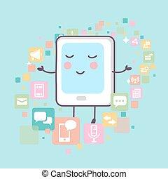 pc, tablet, iconen