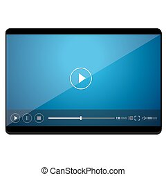 PC tablet vector icon with player