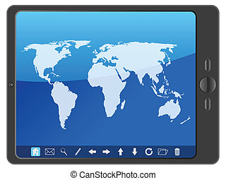 PC tablet with world map