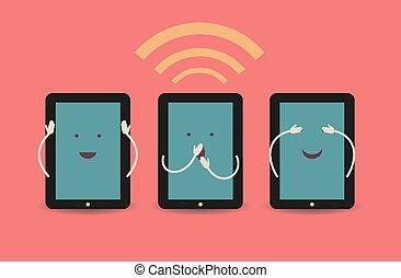 pc, tableta de digital, cartel