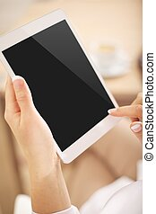 pc tablette, à, écran blanc