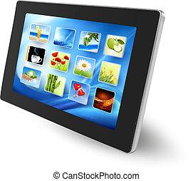 pc tablette, à, icônes