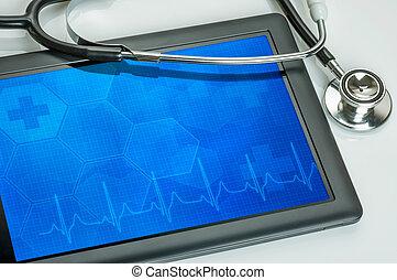 pc tablette, à, stéthoscope