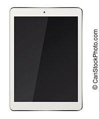 pc tablette, écran, isolé, arrière-plan., informatique, noir, blanc
