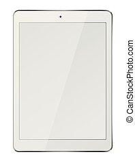 pc tablette, écran, isolé, arrière-plan., informatique, vide, blanc
