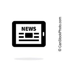 pc tablette, arrière-plan., ligne, journal, blanc, news., icône