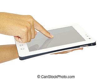 pc tablette, blanc