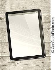 pc tablette, bois, numérique, table, blanc