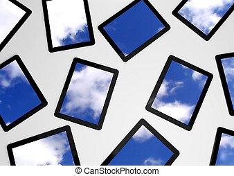 pc, tablette, ciel, écrans, fond, 3d